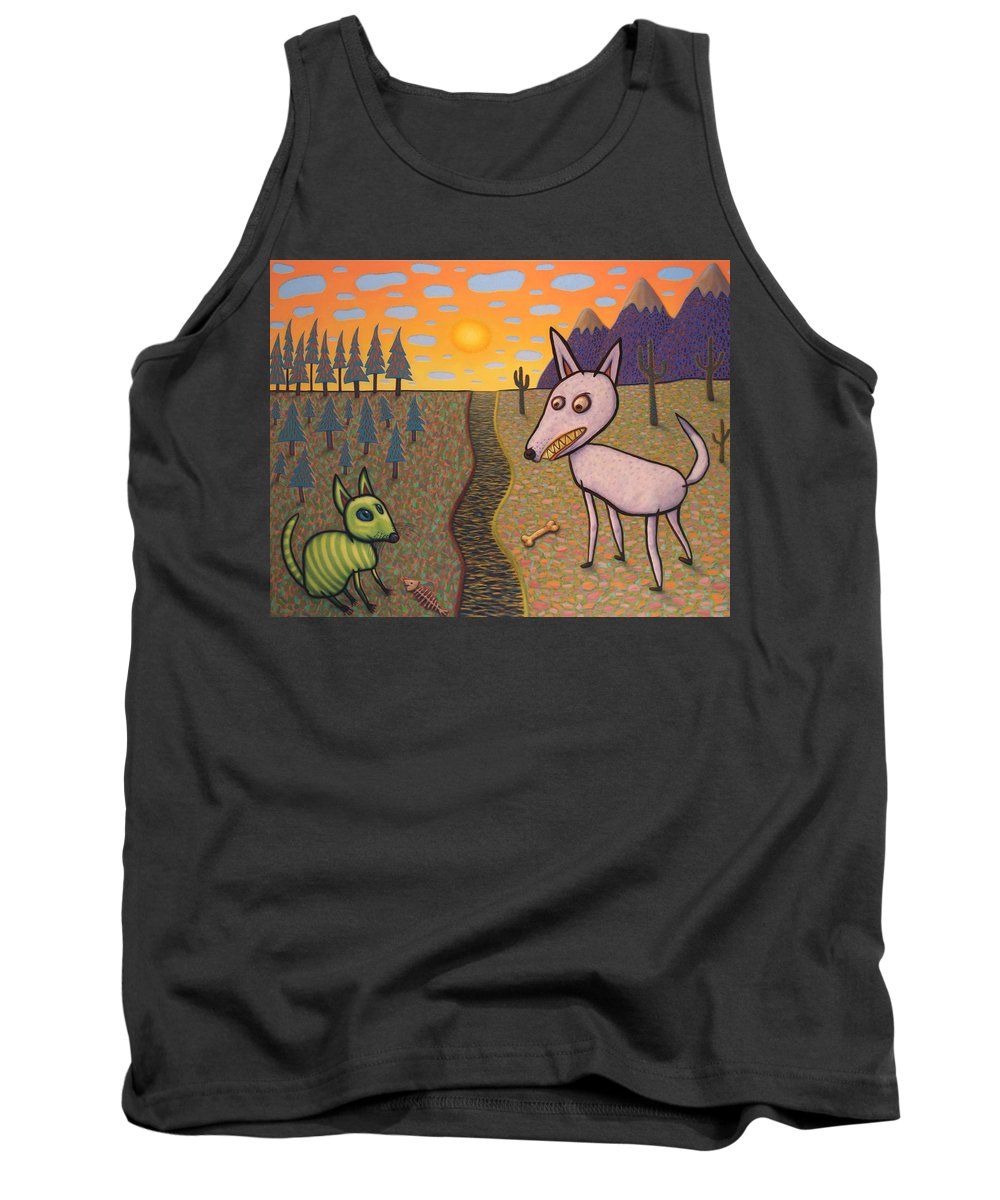 Border Tank Top featuring the painting The Border by James W Johnson