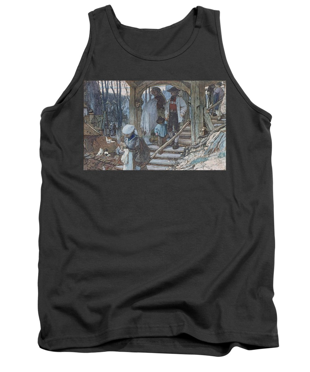 Hague School Tank Top featuring the drawing The Christening Gate In Lausanne, C.1861 by Matthijs Maris