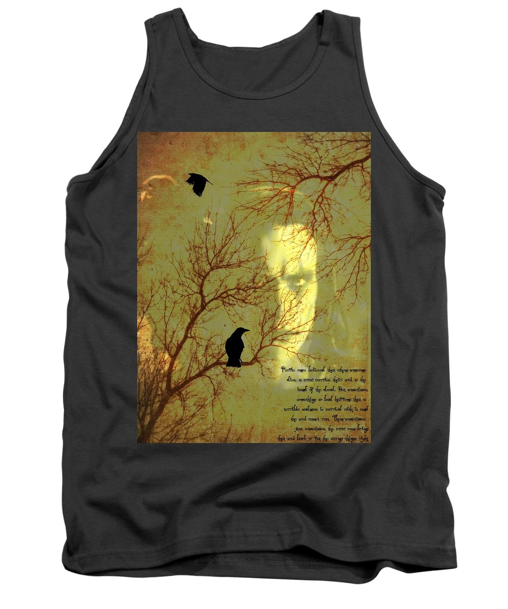 Nevermore Tank Top featuring the mixed media The Crow by Dan Sproul