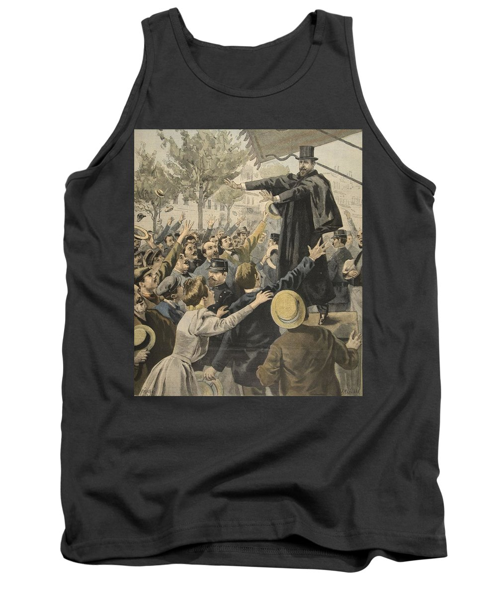 Male Tank Top featuring the drawing The Deroulede Meeting At The Exit by French School