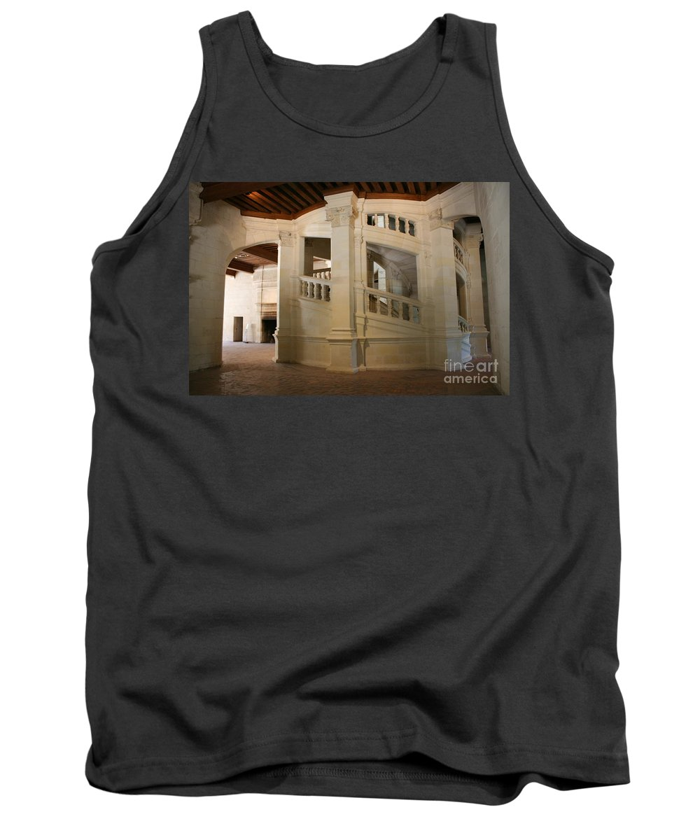 Staircase Tank Top featuring the photograph The Double-helix Staircase Chateau Chambord - France by Christiane Schulze Art And Photography