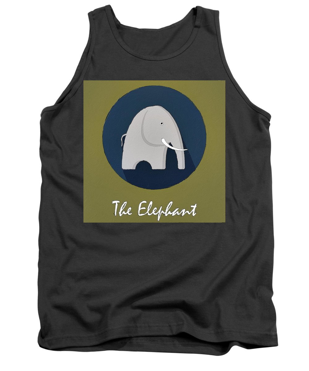 Elephant Tank Top featuring the painting The Elephant Cute Portrait by Florian Rodarte