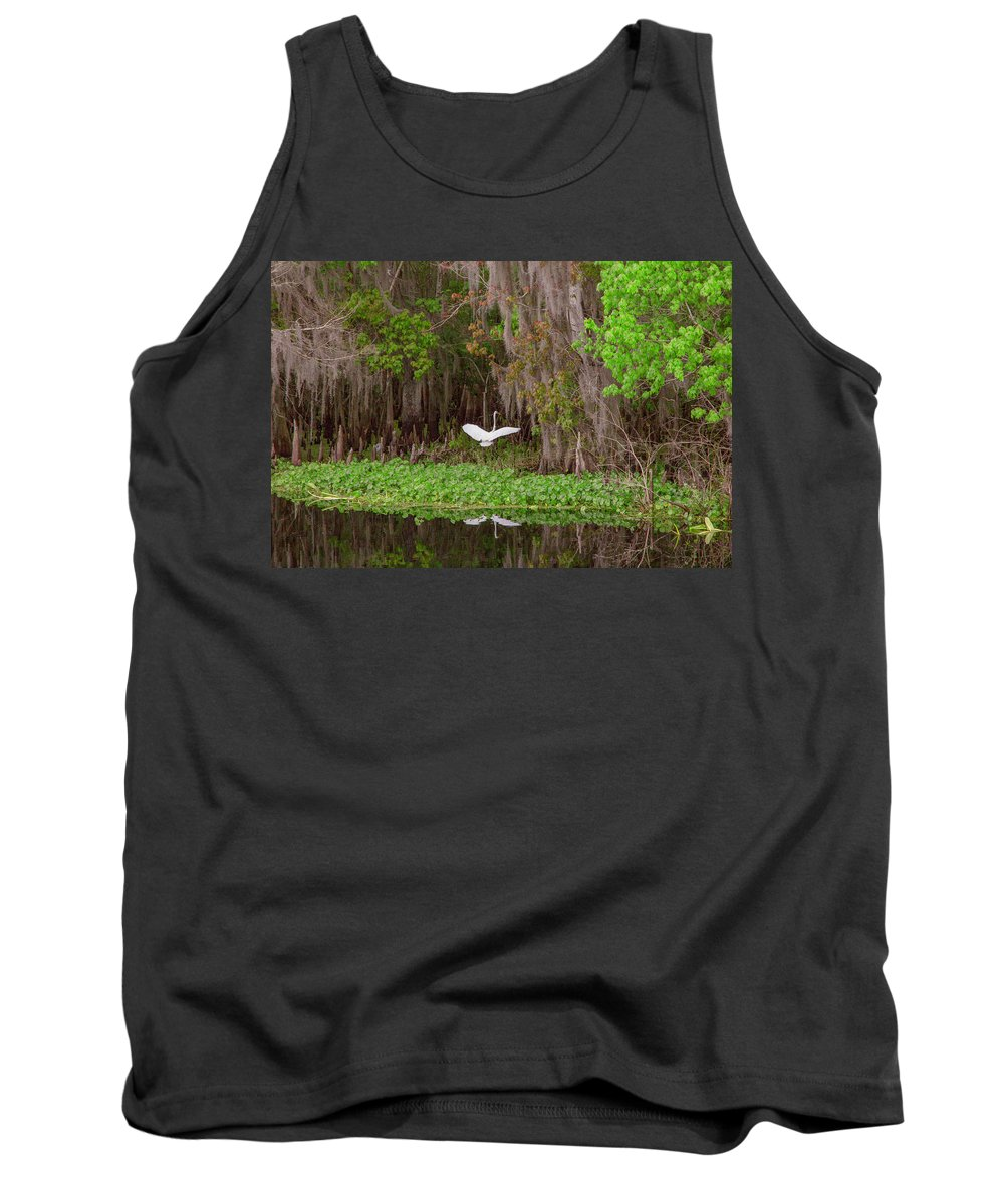 Great Blue Heron Tank Top featuring the photograph The Fight 1 by Thomas Sellberg