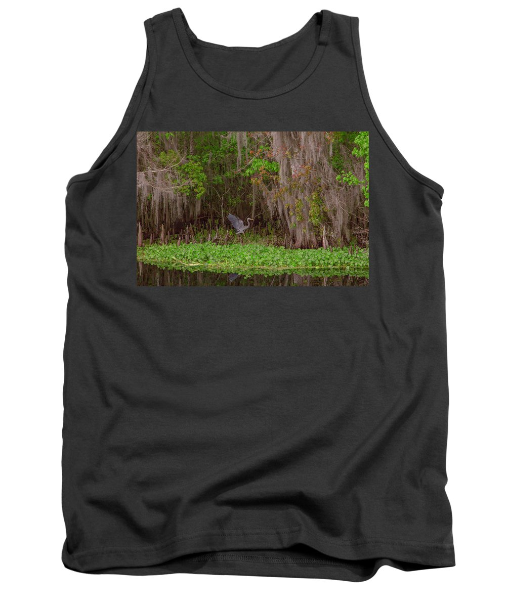 Great Blue Heron Tank Top featuring the photograph The Fight 5 by Thomas Sellberg
