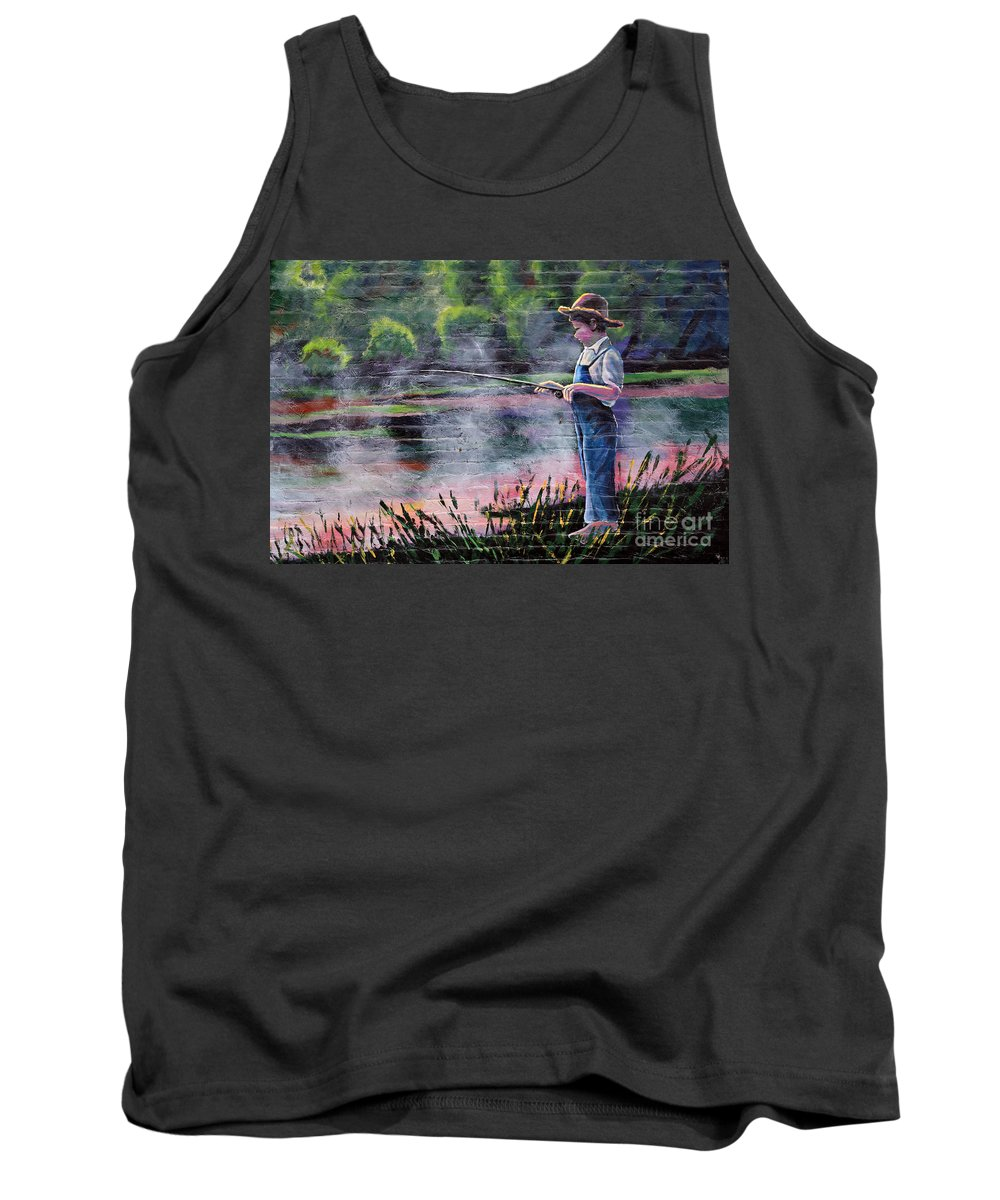 Fishing Tank Top featuring the photograph The Fishing Boy by Gary Richards
