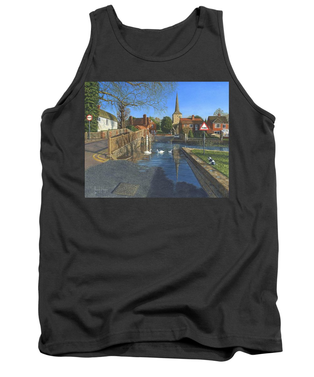 Eynsford Tank Top featuring the painting The Ford At Eynsford Kent by Richard Harpum