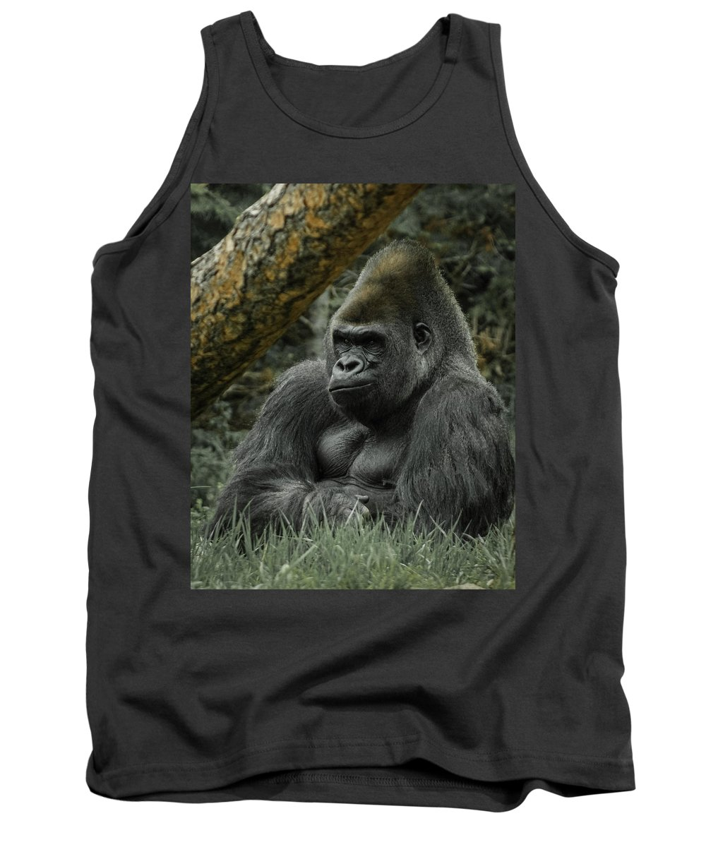 Animals Tank Top featuring the digital art The Gorilla 3 by Ernie Echols