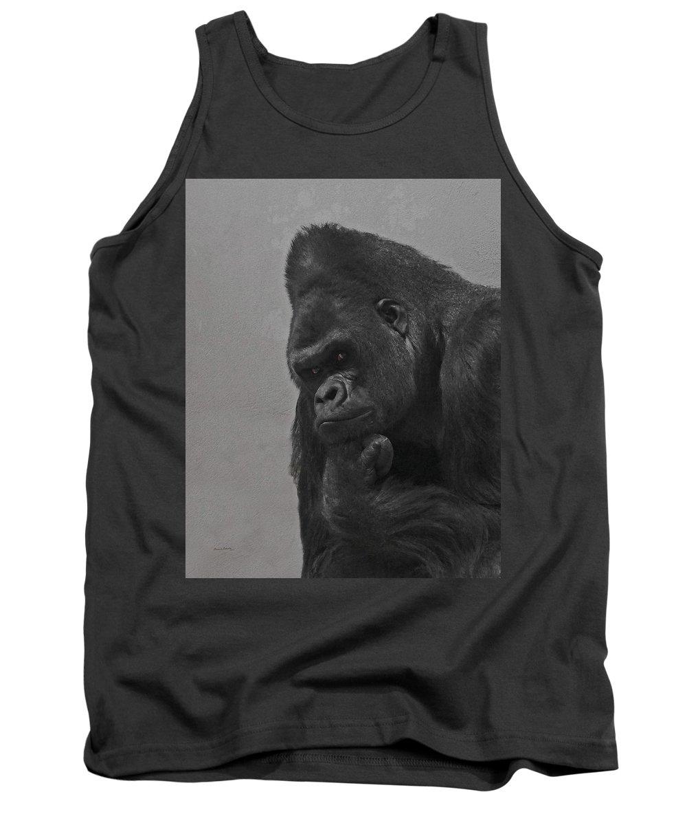 Gorilla Tank Top featuring the digital art The Gorilla by Ernie Echols