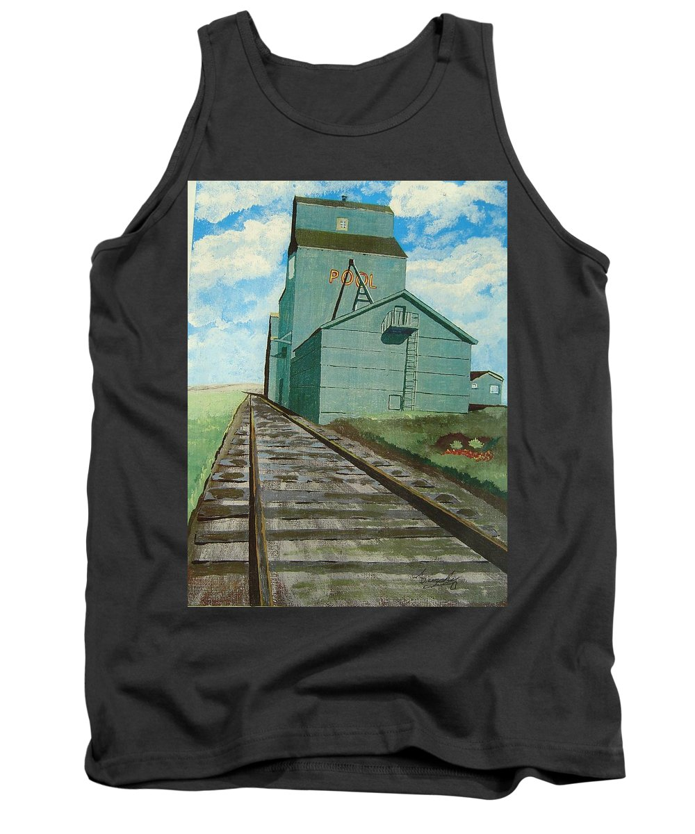 Elevator Tank Top featuring the painting The Grain Elevator by Anthony Dunphy