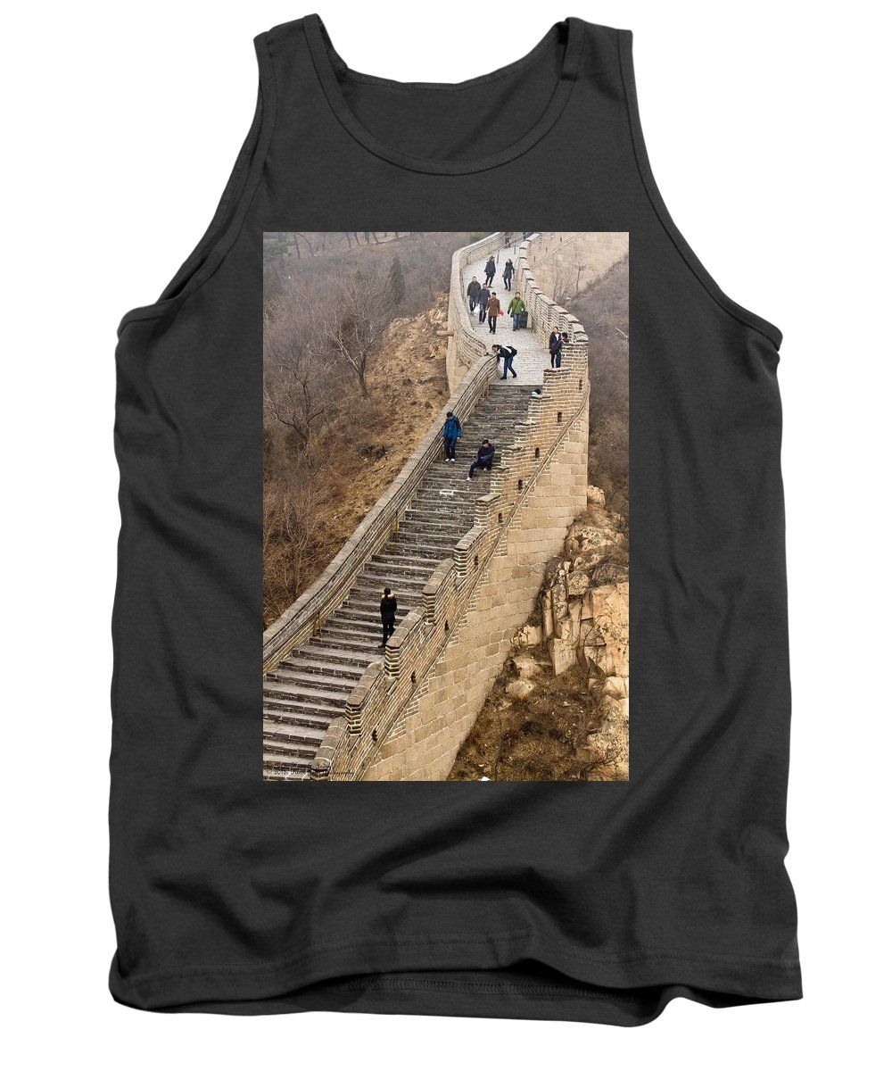 Great Wall Of China Tank Top featuring the photograph The Great Wall Of China At Badaling - 9 - A Close Up by Hany J