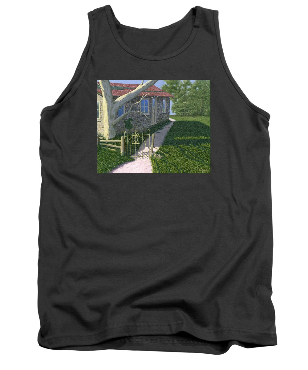 Old Farm Tank Top featuring the painting The Iron Gate by Gary Giacomelli