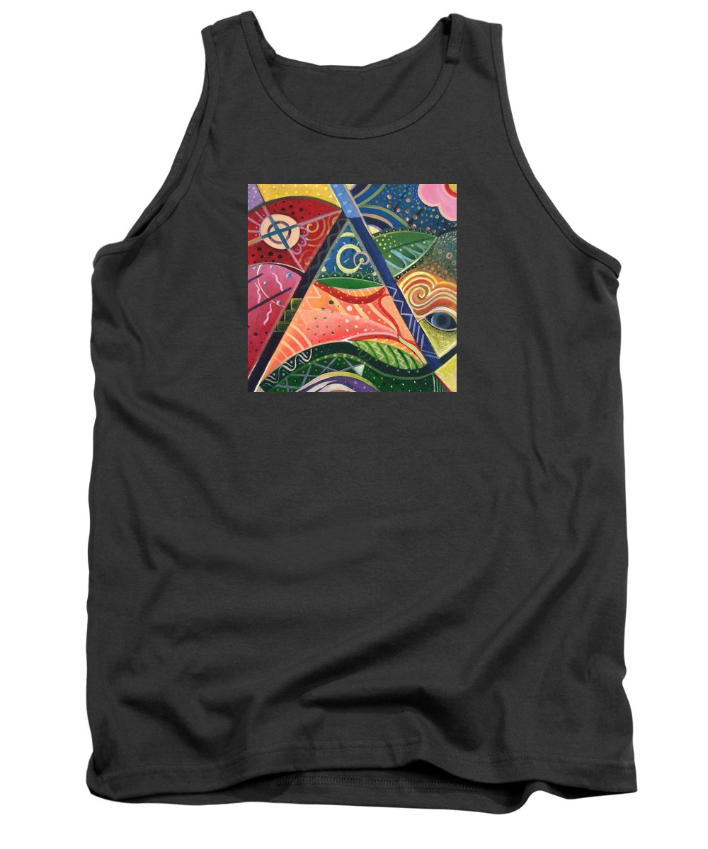 Abstract Tank Top featuring the painting The Joy Of Design V by Helena Tiainen