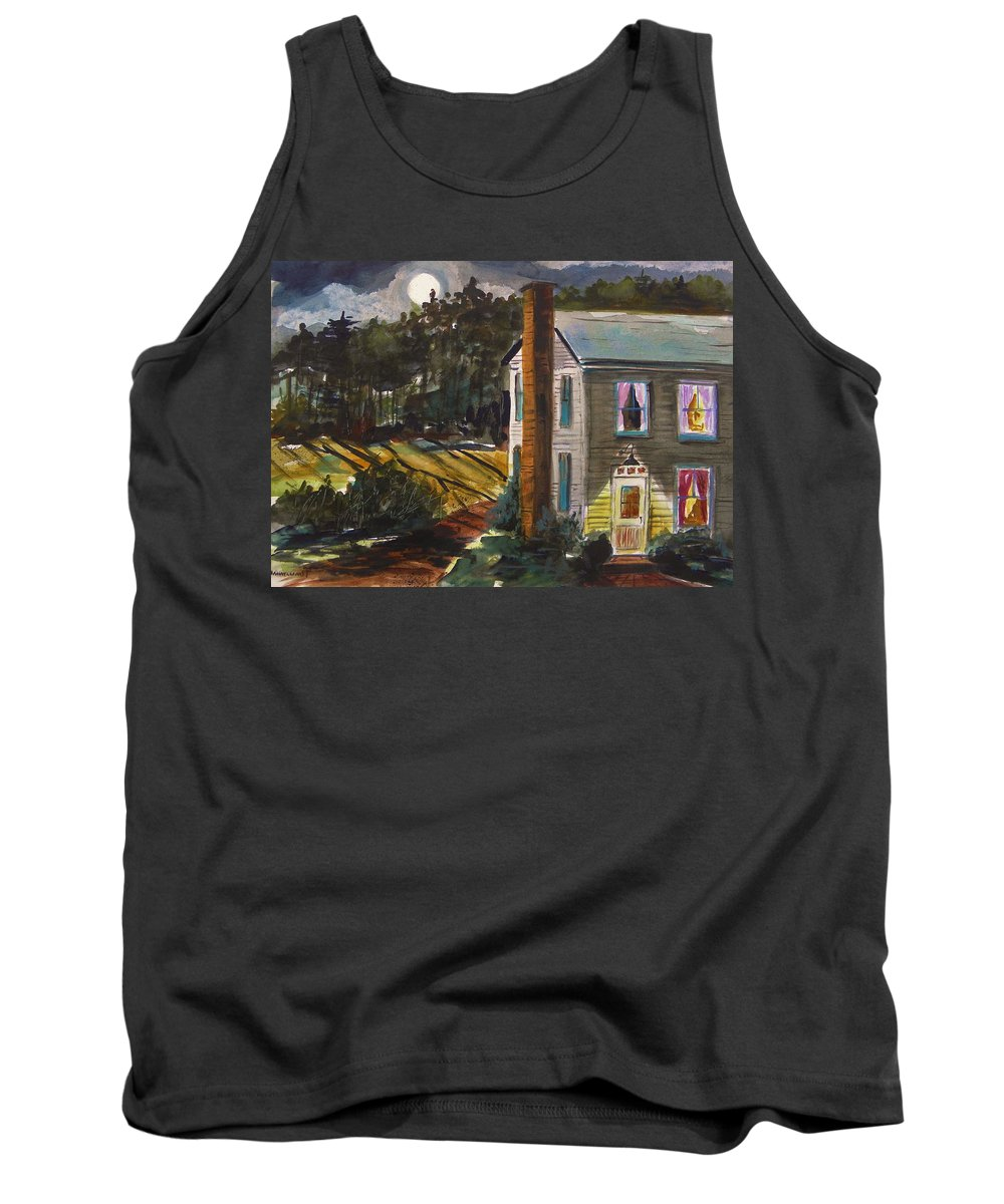 Moon Tank Top featuring the painting The Light Over The Door by John Williams
