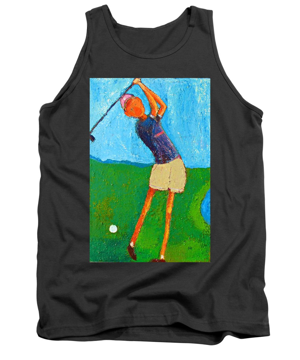 Abstract Tank Top featuring the painting The Little Golfer by Habib Ayat