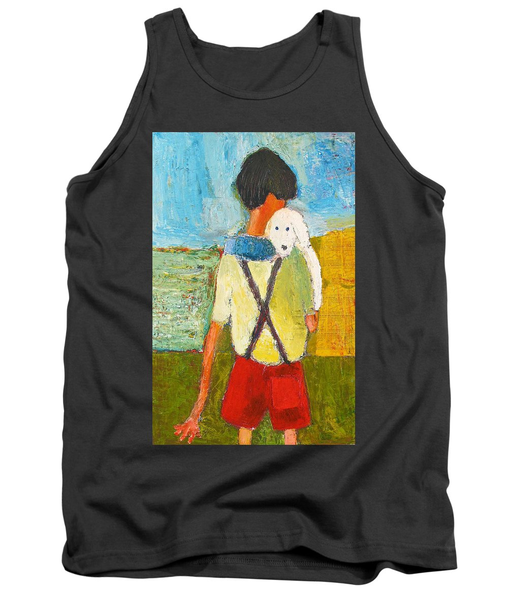 Abstract Tank Top featuring the painting The Little Puppy by Habib Ayat