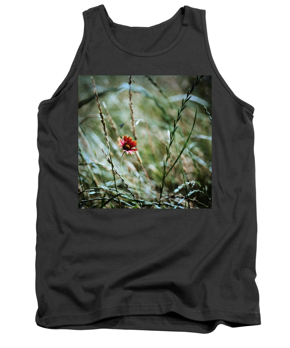 Sunflower Tank Top featuring the digital art The Lonely Flower by Linda Unger