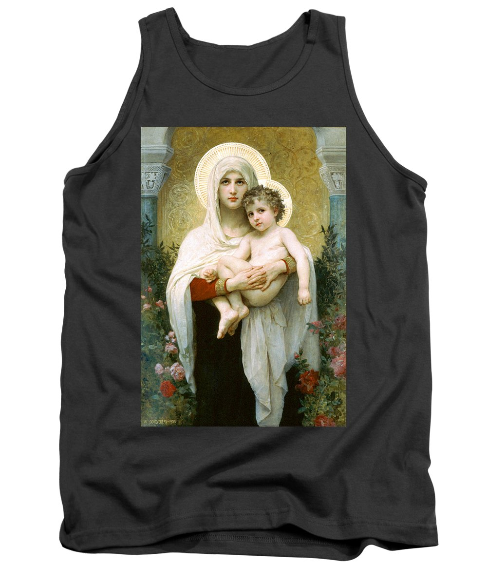 The Madonna Of The Roses Tank Top featuring the painting The Madonna Of The Roses by William-Adolphe Bouguereau