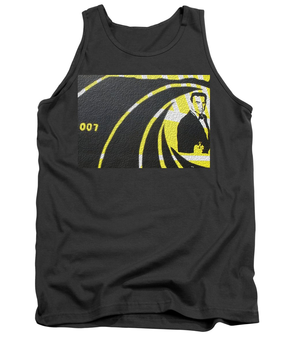 James Bond Tank Top featuring the painting The Man With The Golden Gun by Robert Margetts