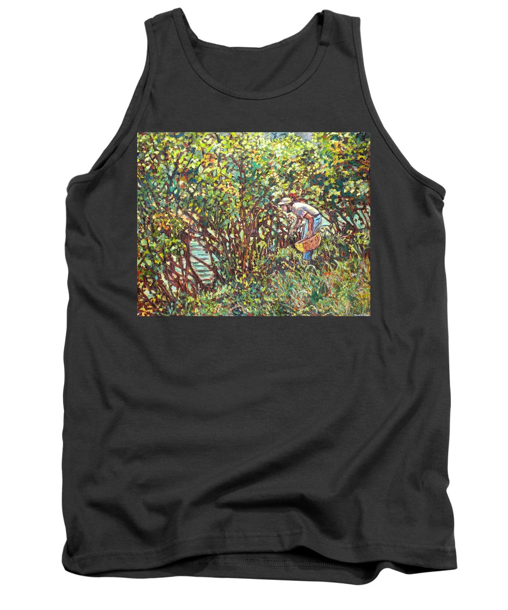 Landscape Tank Top featuring the painting The Mushroom Picker by Kendall Kessler