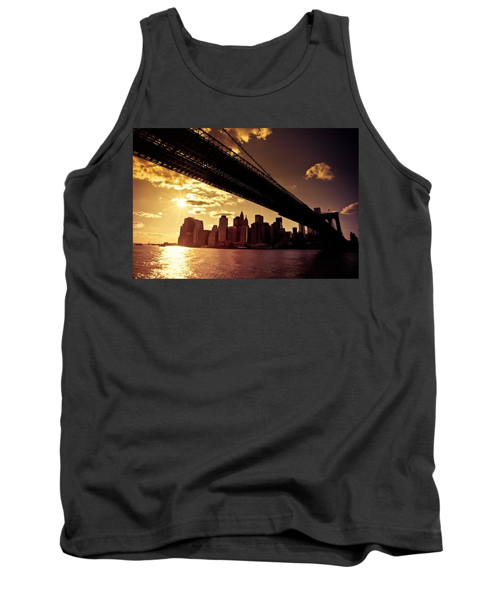 New York City Tank Top featuring the photograph The New York City Skyline - Sunset by Vivienne Gucwa