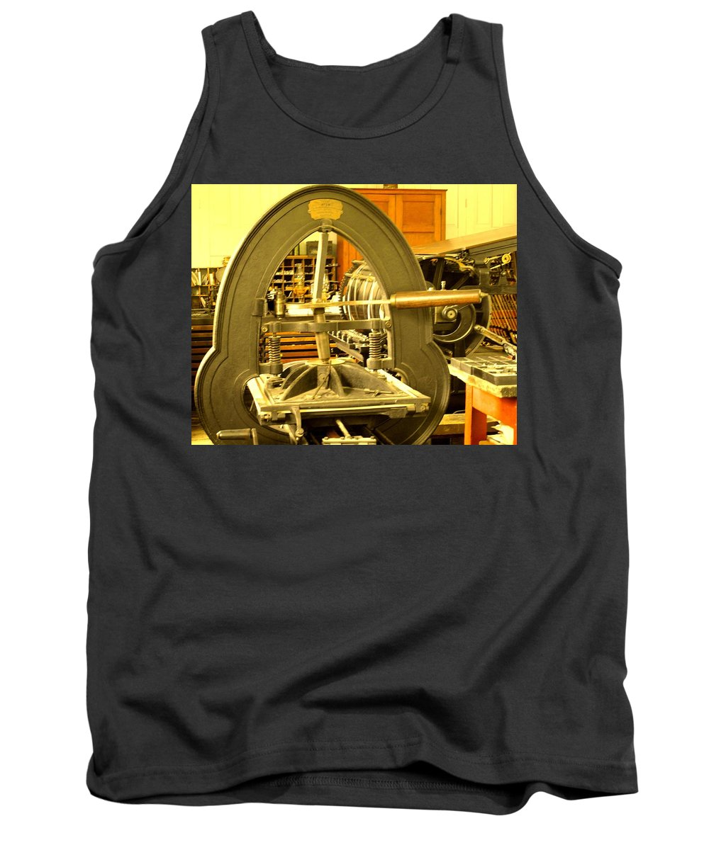 Pioneer Tank Top featuring the photograph The Old Printing Press by Ian MacDonald