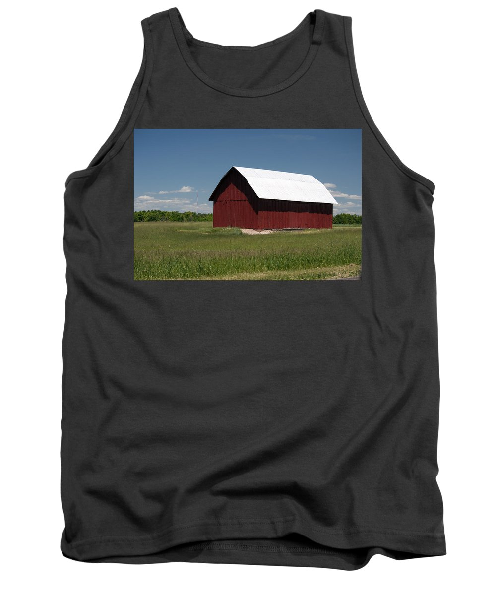 Farm Tank Top featuring the photograph The Old Red Barn by Linda Kerkau