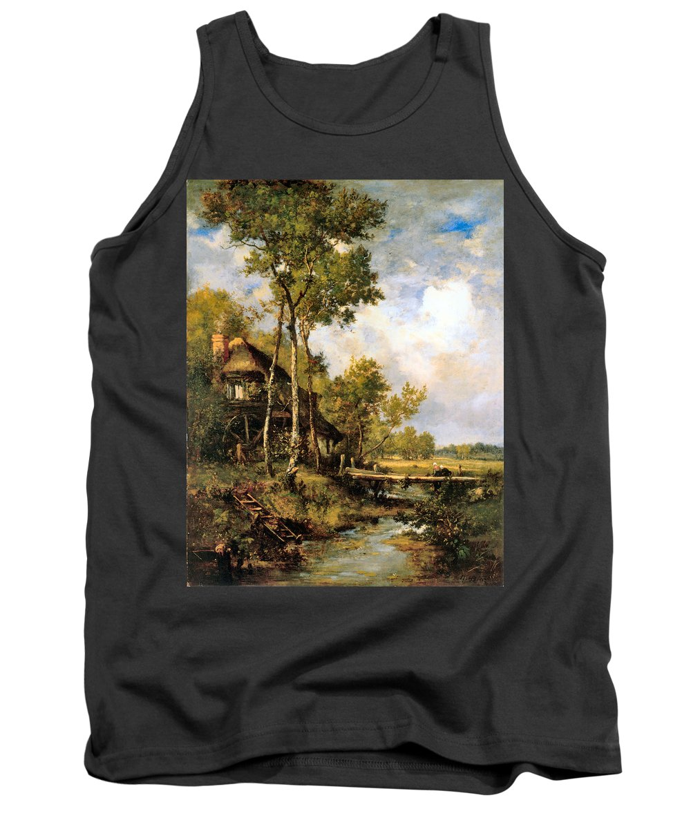 Narcisse-virgile De La Pena Tank Top featuring the digital art The Old Windmill Near Barbizon by Narcisse Virgile Diaz de la Pena