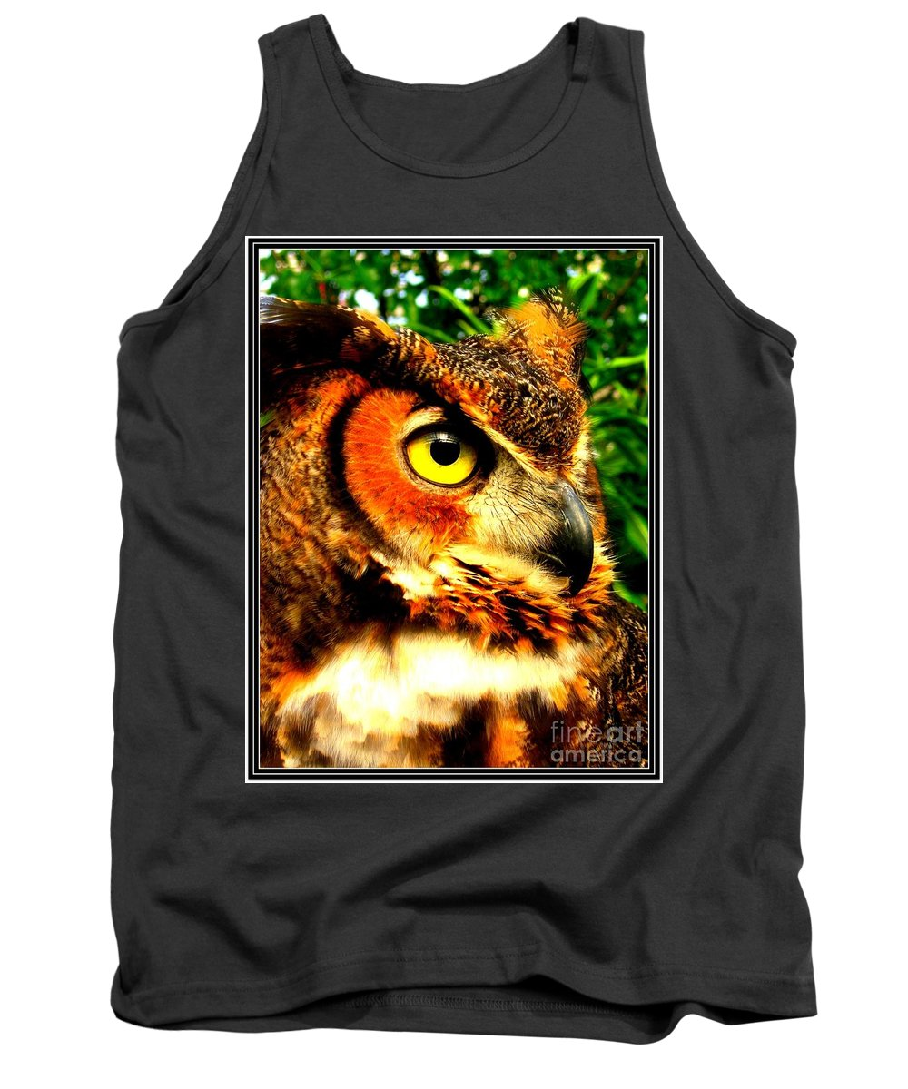 One Animal Tank Top featuring the photograph The Owl's Eye by Dora Sofia Caputo Photographic Design and Fine Art