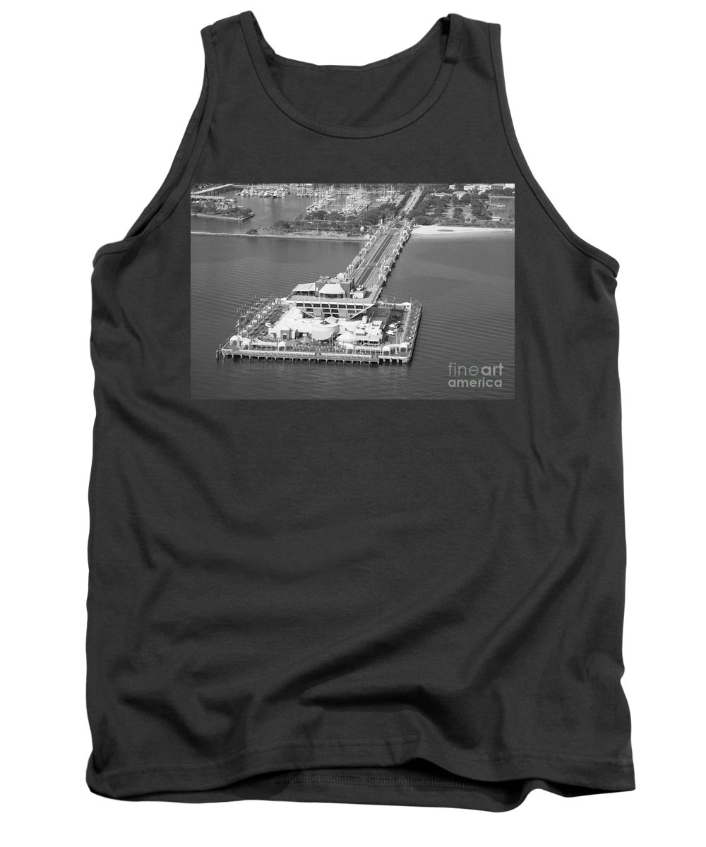 Black And White Tank Top featuring the photograph The Pier St Petersburg Fl by Bill Cobb
