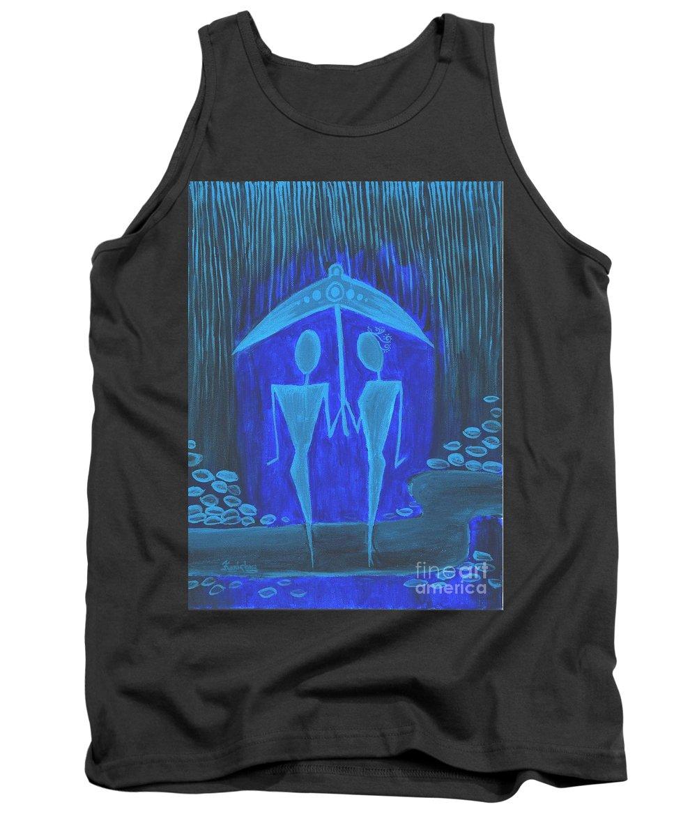 Rain Tank Top featuring the painting The Rainy Day by KarishmaticArt -Karishma Desai