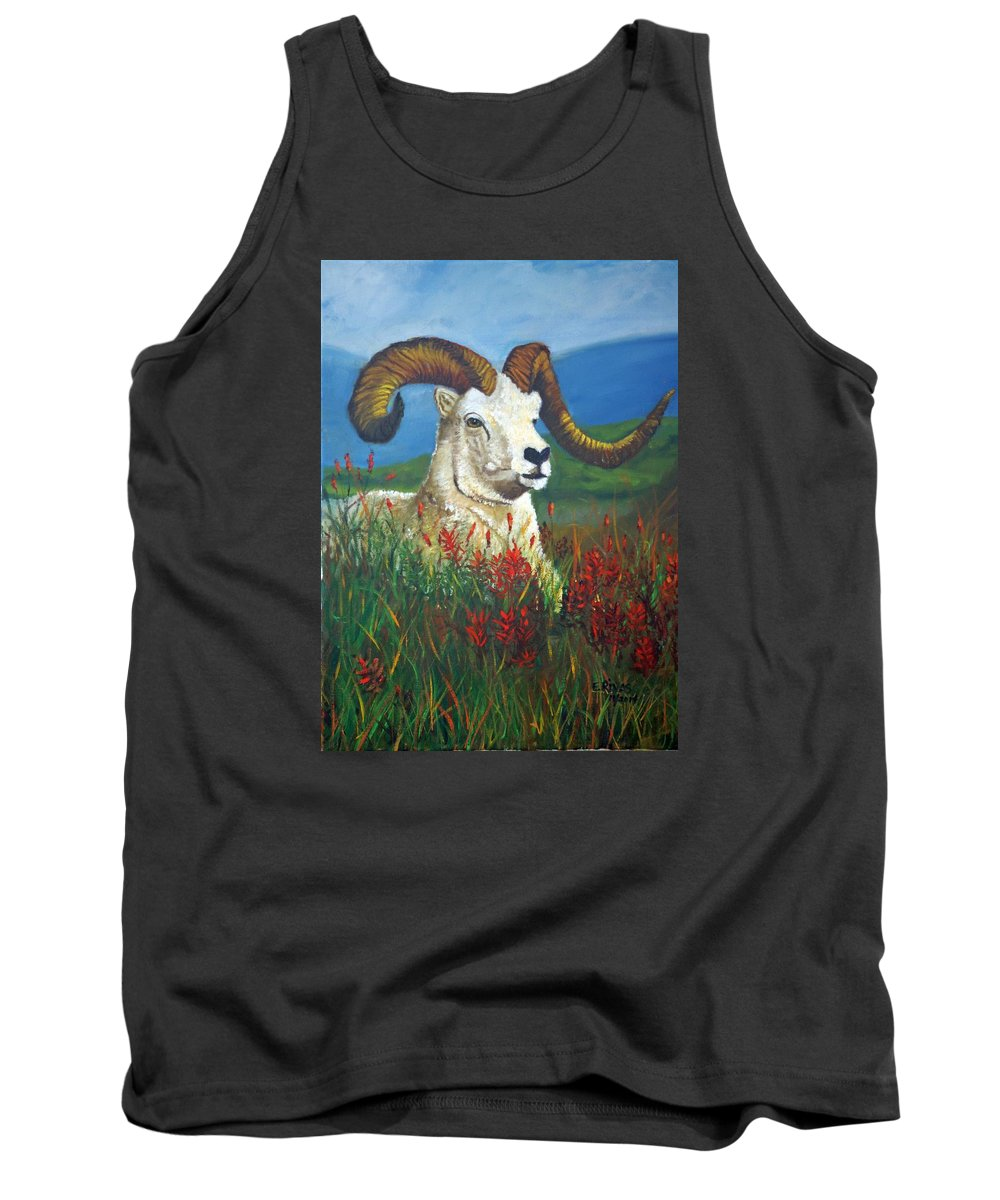 Animal Ram Landscape Tank Top featuring the painting The Ram by Esther Rivas