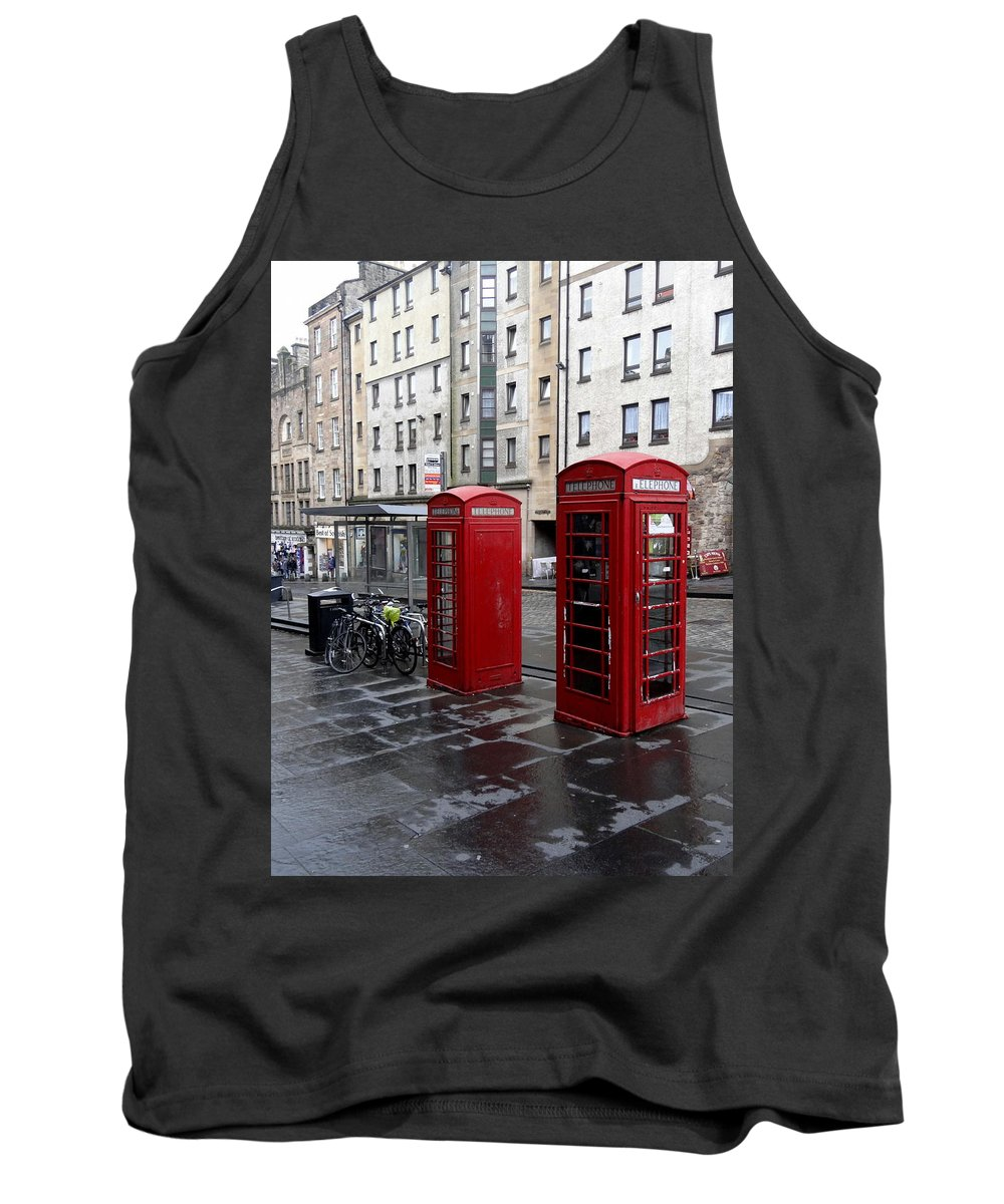 Red Phone Booth Tank Top featuring the photograph The Red Phone Booth by Richard Rosenshein