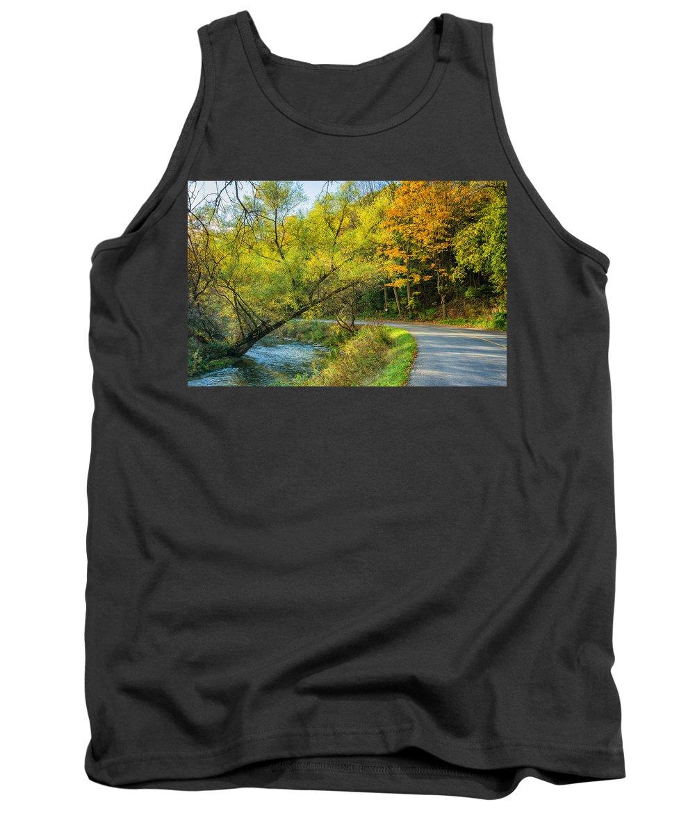 Steve Harrington Tank Top featuring the photograph The River Road Curve by Steve Harrington