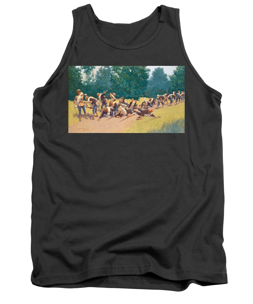 Frederic Remington Tank Top featuring the painting The Scream Of Shrapnel At San Juan Hill by Frederic Remington