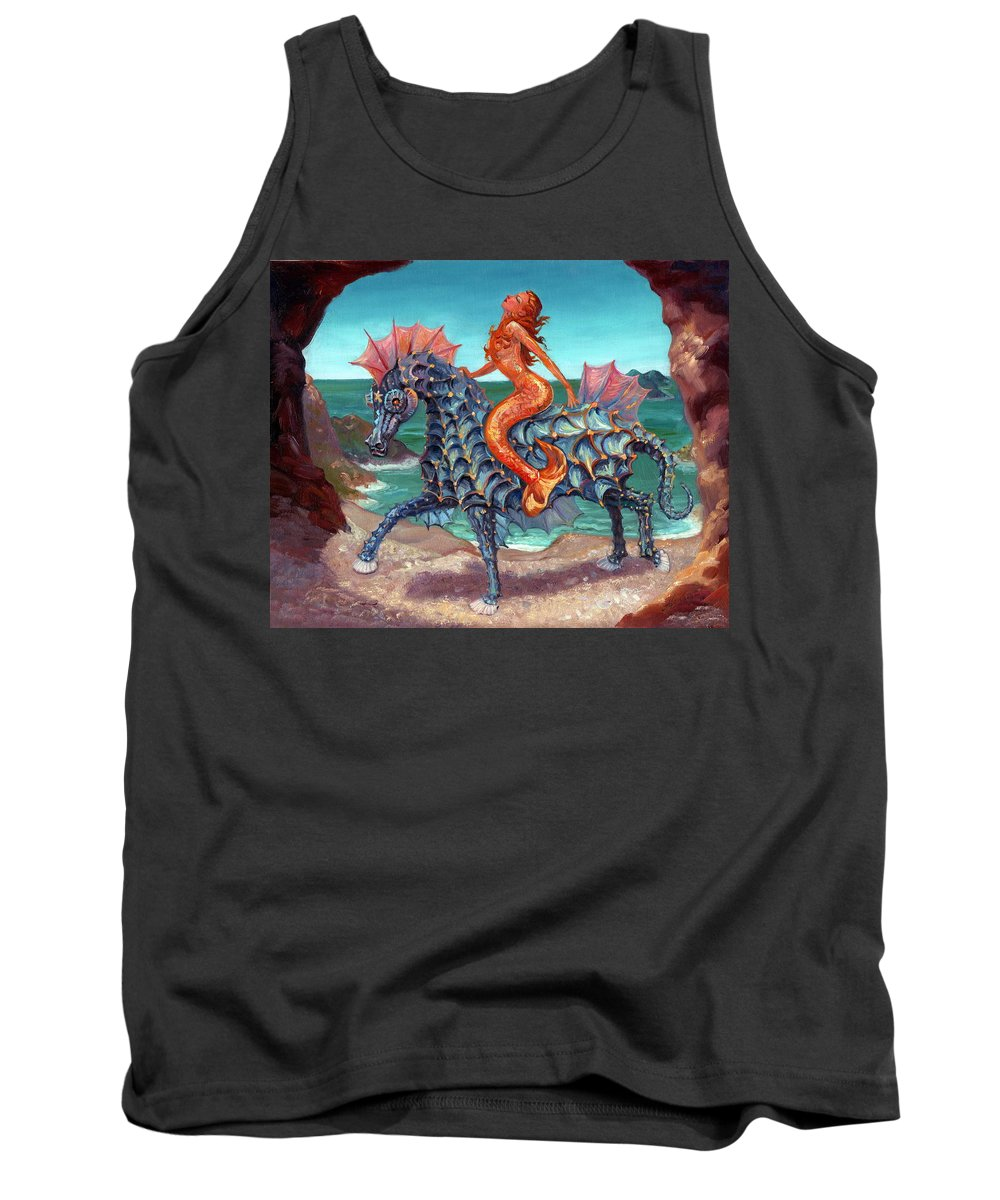 Mermaids Tank Top featuring the painting The Seamaid's Fantasy by Kerry Nelson