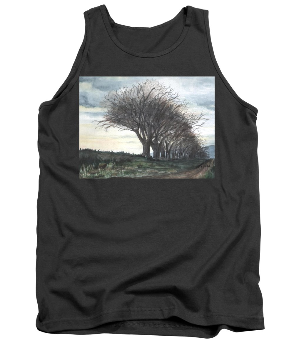 Watercolor Tank Top featuring the painting The Sentinels by Brenda Owen
