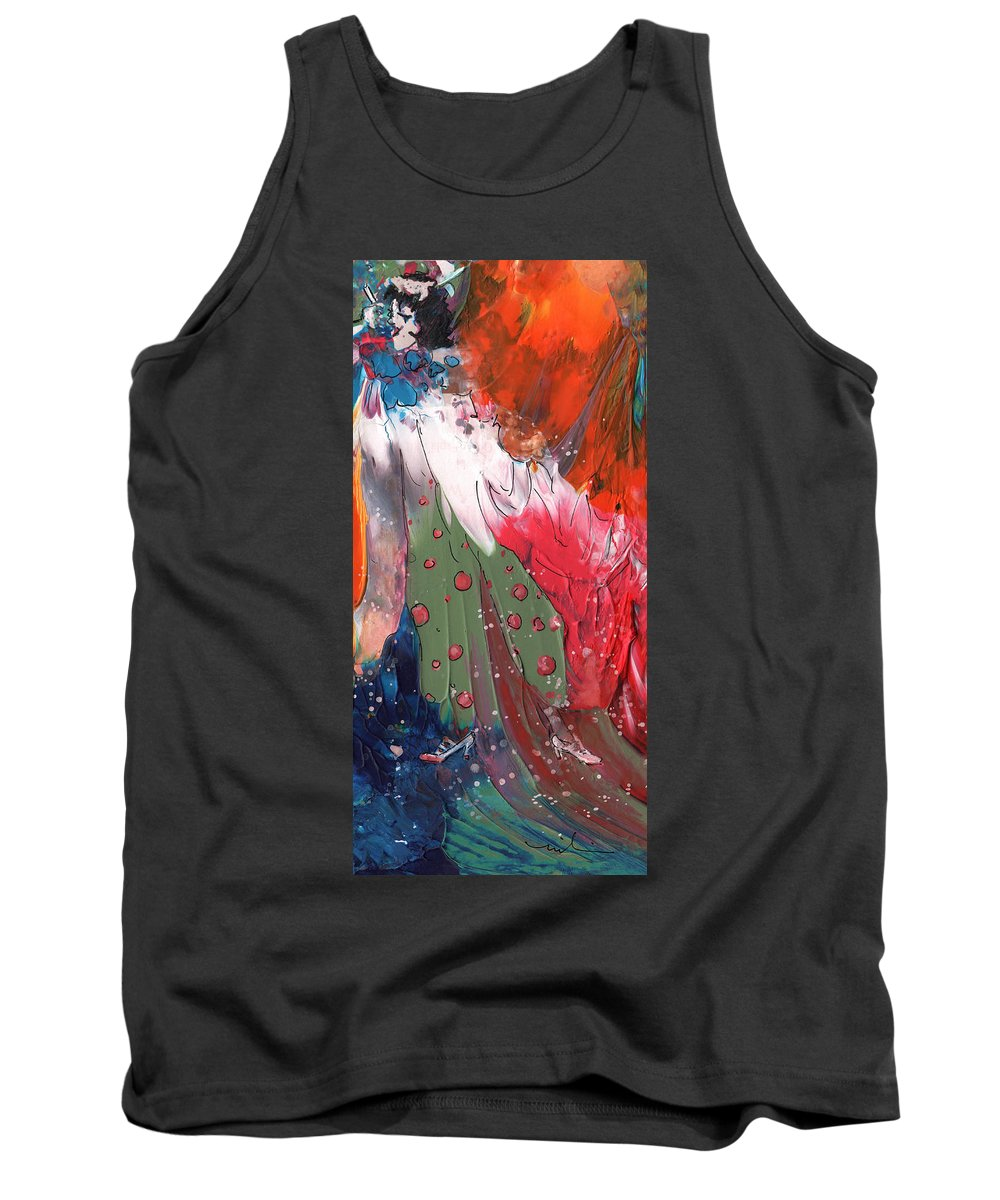Fantasy Tank Top featuring the painting The Smoking Woman by Miki De Goodaboom
