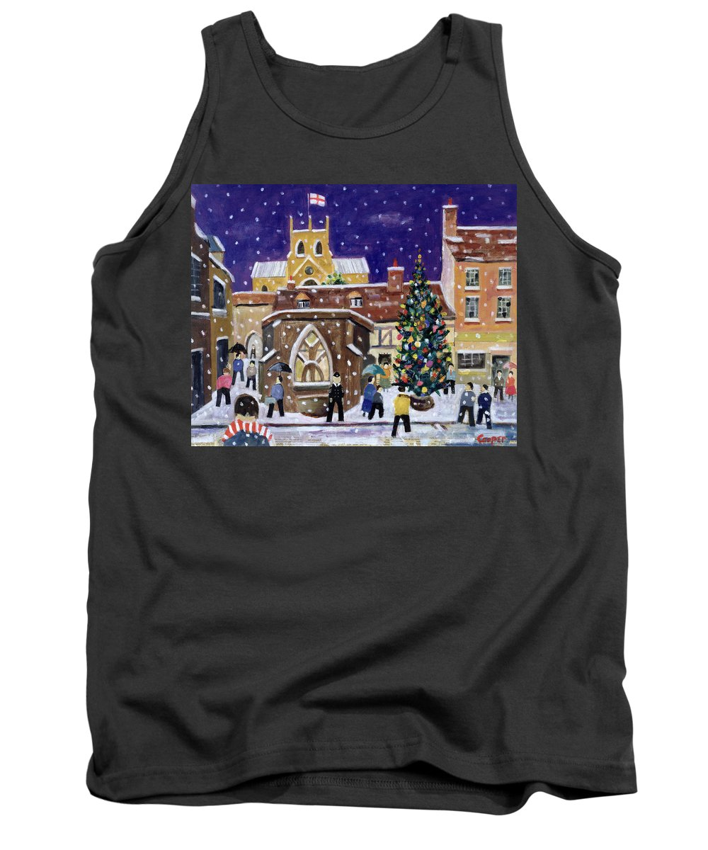 Street Scene Tank Top featuring the painting The Spirit Of Christmas by William Cooper