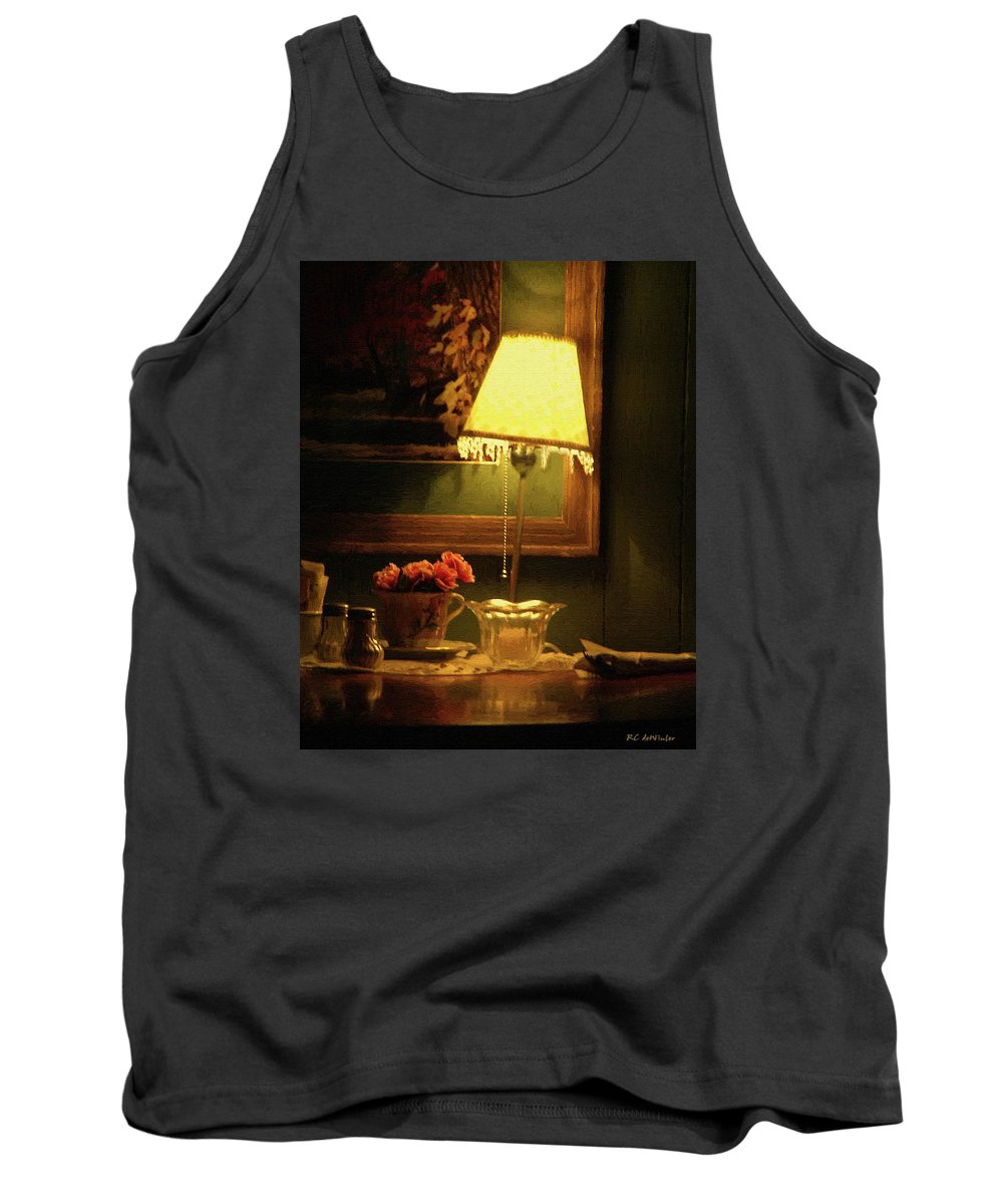Lamp Tank Top featuring the painting The Stage Is Set by RC DeWinter