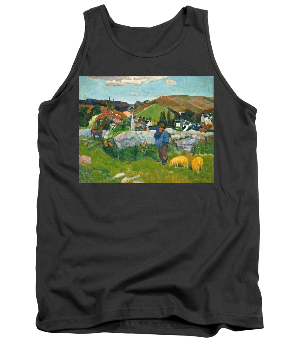 Paul Gauguin Tank Top featuring the painting The Swineherd by Paul Gauguin