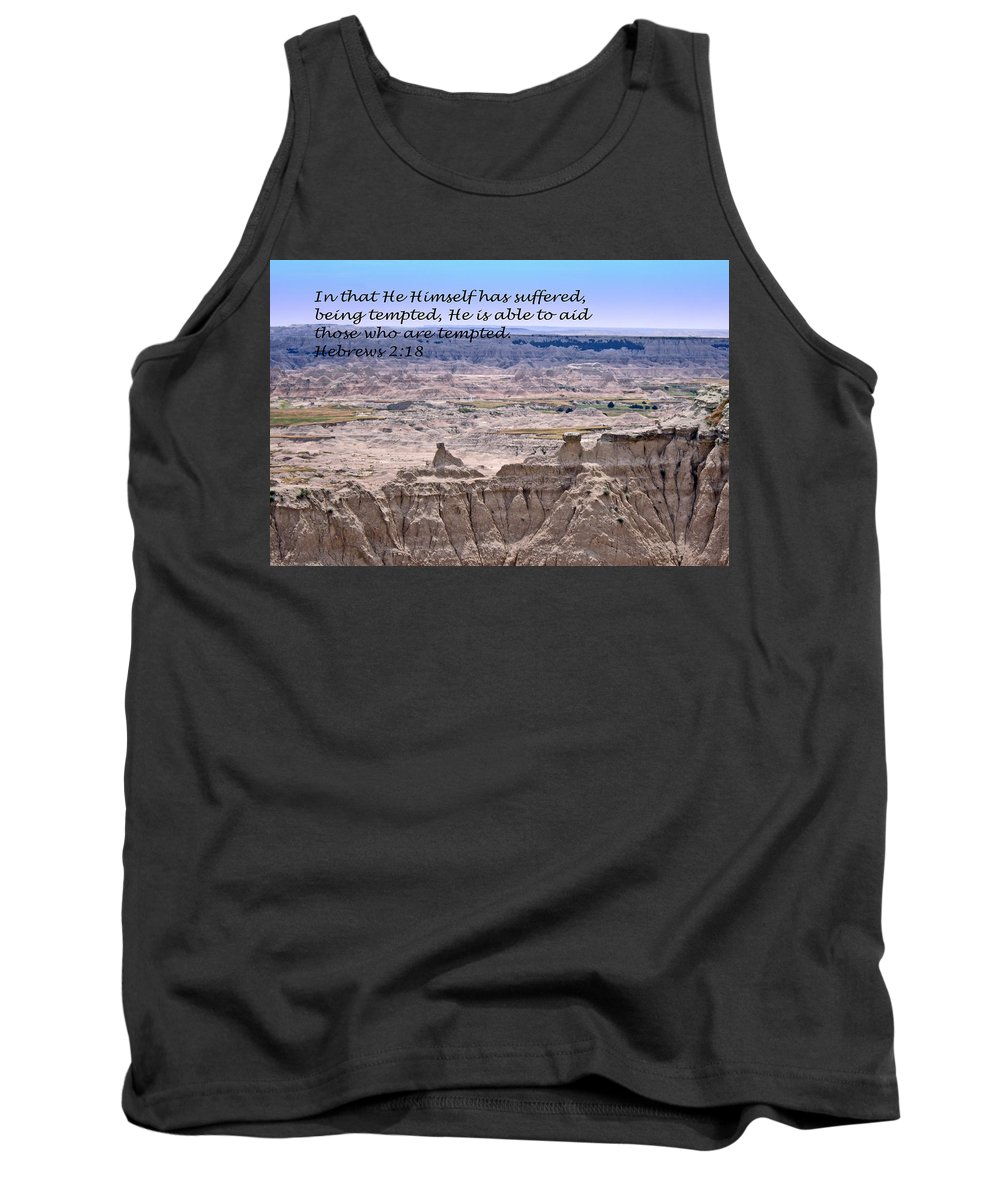 Landscape Photography Tank Top featuring the photograph The Temptation Of Jesus Hebrews 2 18 by Barb Dalton