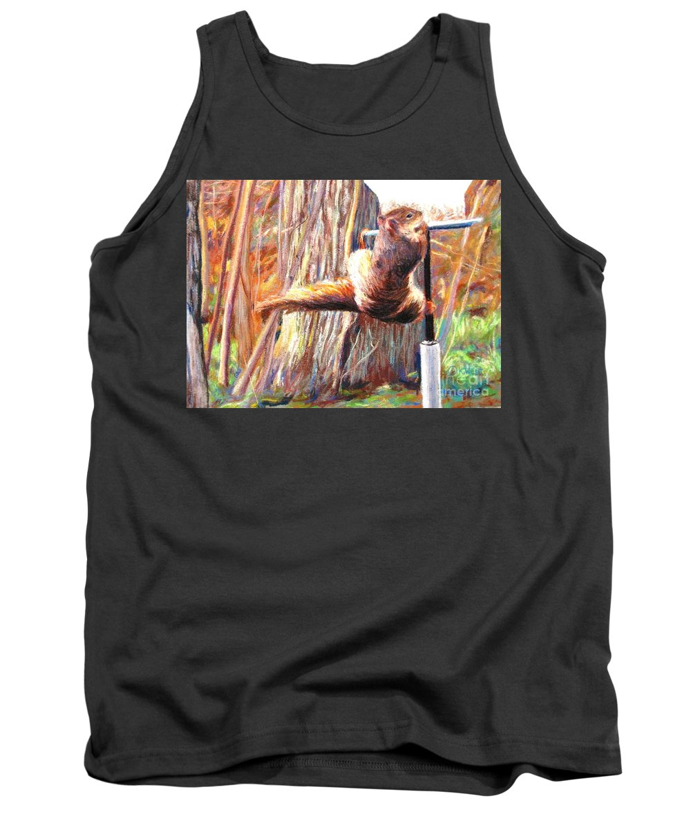 Animal Tank Top featuring the pastel The Thief by Katrina West
