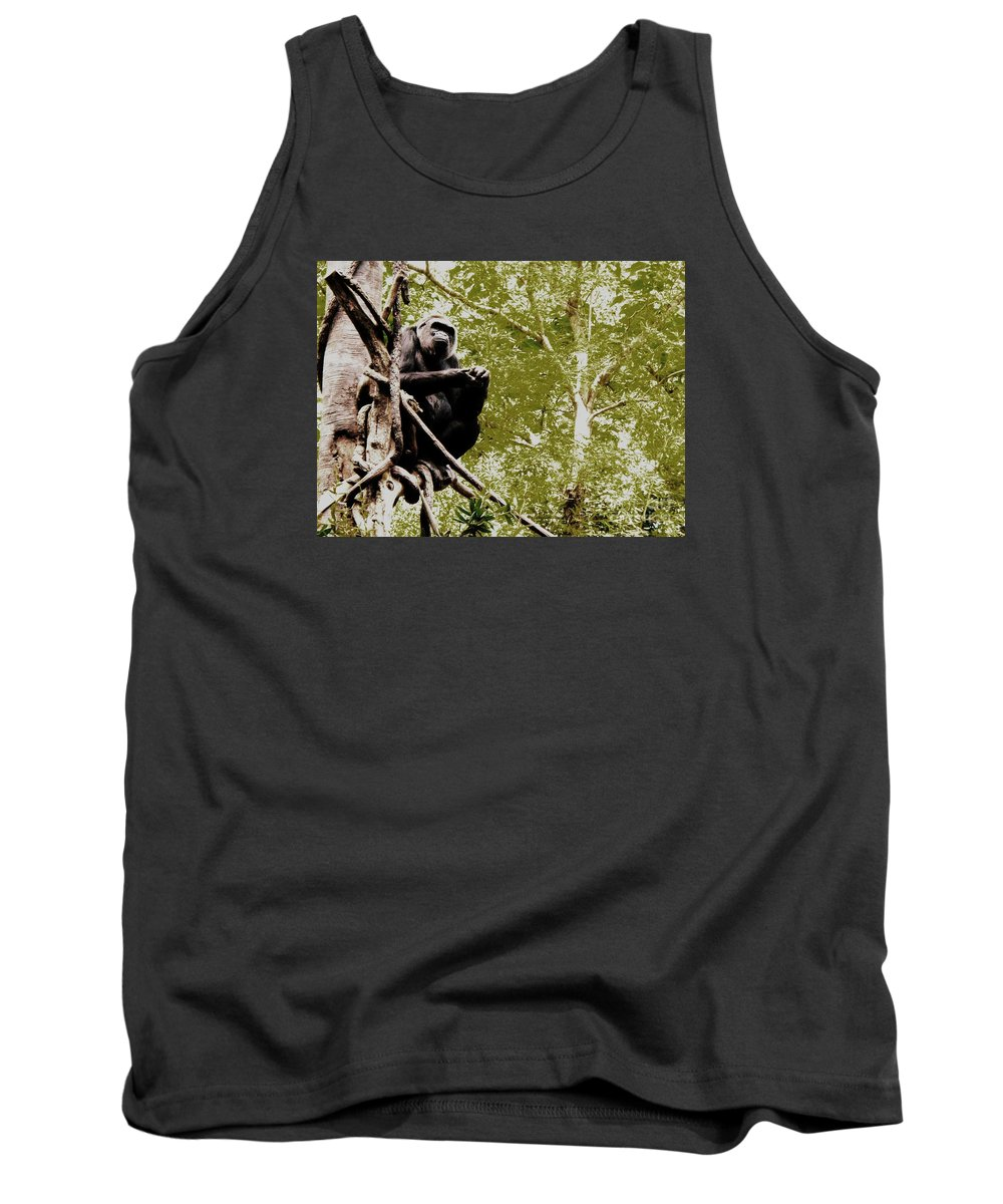Gorilla Tank Top featuring the photograph The Thinker by Vanessa Palomino
