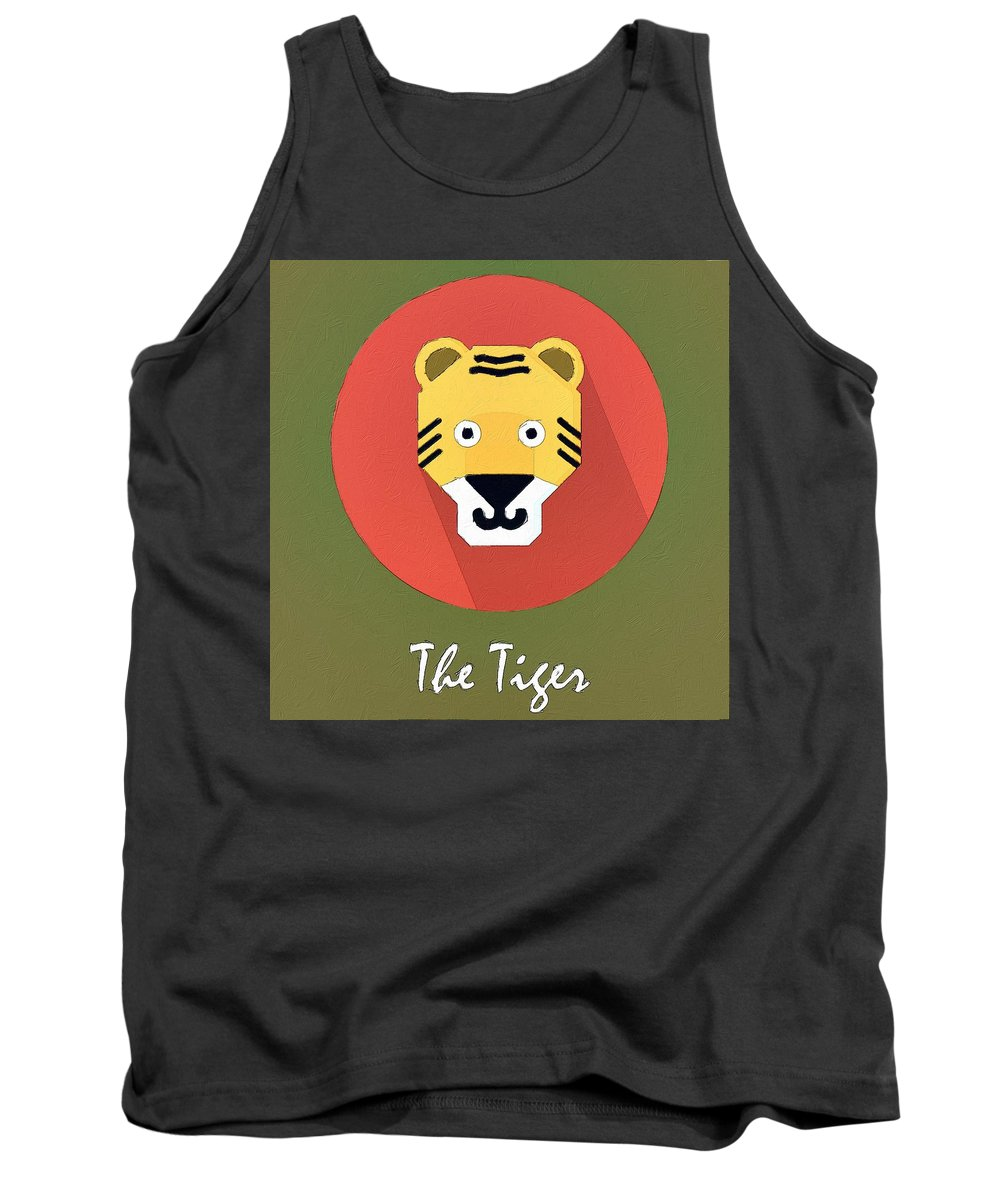 Tiger Tank Top featuring the painting The Tiger Cute Portrait by Florian Rodarte