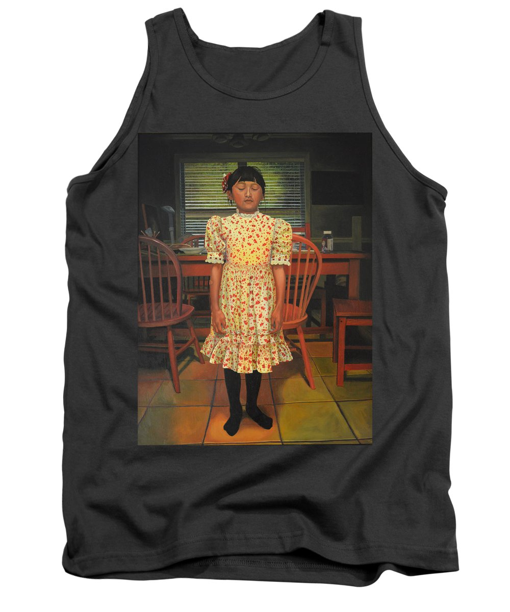 Children Paintings Tank Top featuring the painting The Valentine Dress by Thu Nguyen