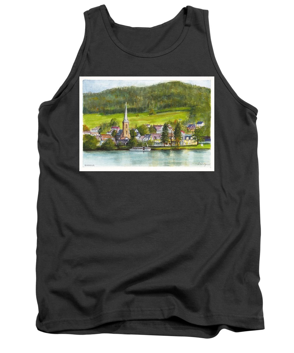 Lake Tank Top featuring the painting The Village Of Einruhr In Germany by Dai Wynn