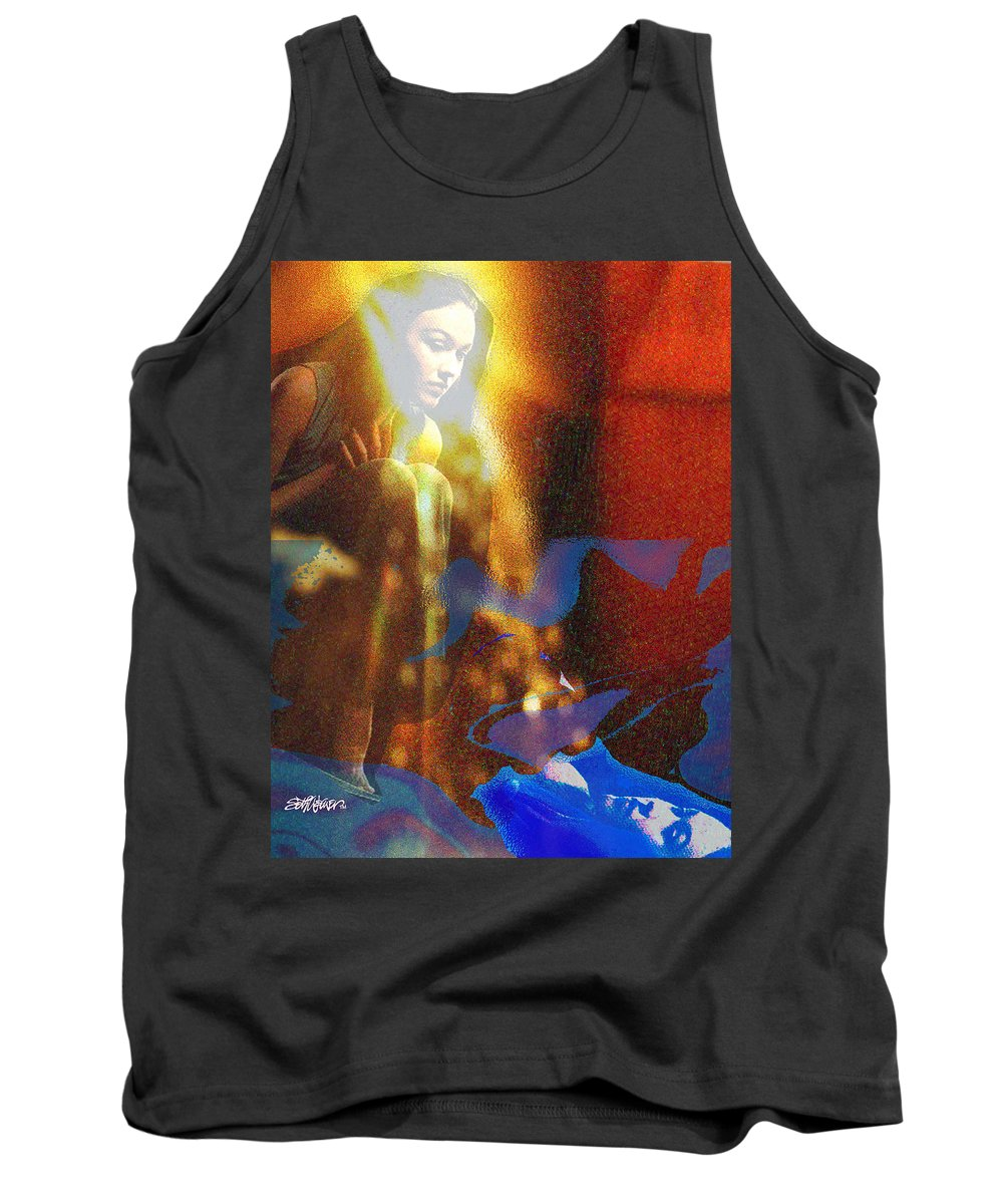 Vision Tank Top featuring the digital art The Vision by Seth Weaver
