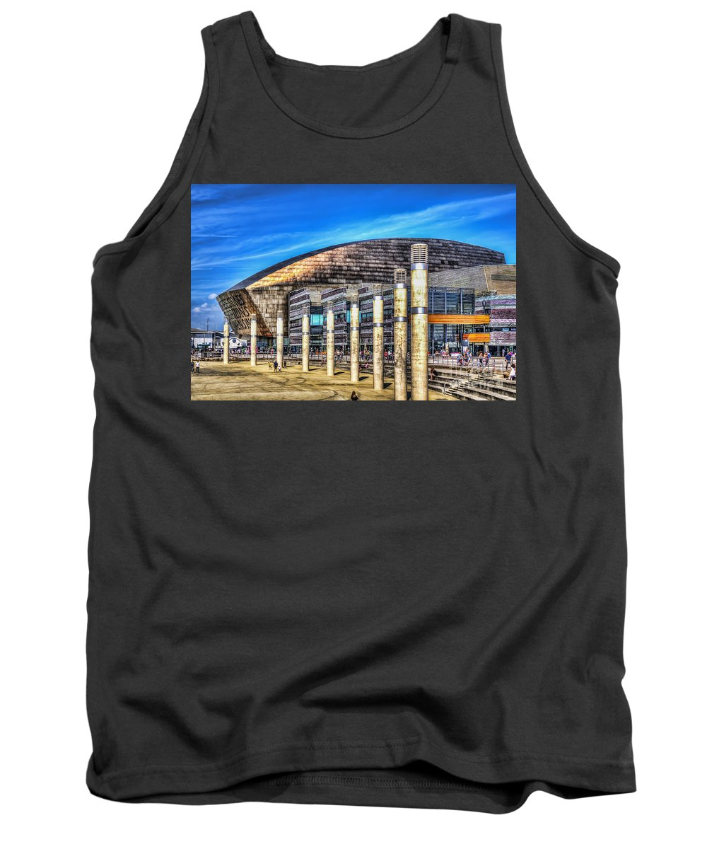 Cardiff Bay Tank Top featuring the photograph The Wales Millennium Centre by Steve Purnell