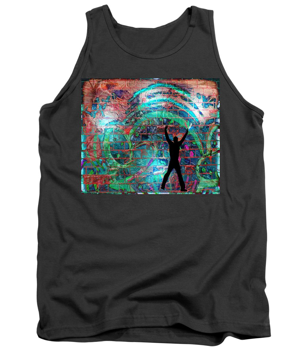 Brick Tank Top featuring the painting The Wall-graffiti by Ericamaxine Price