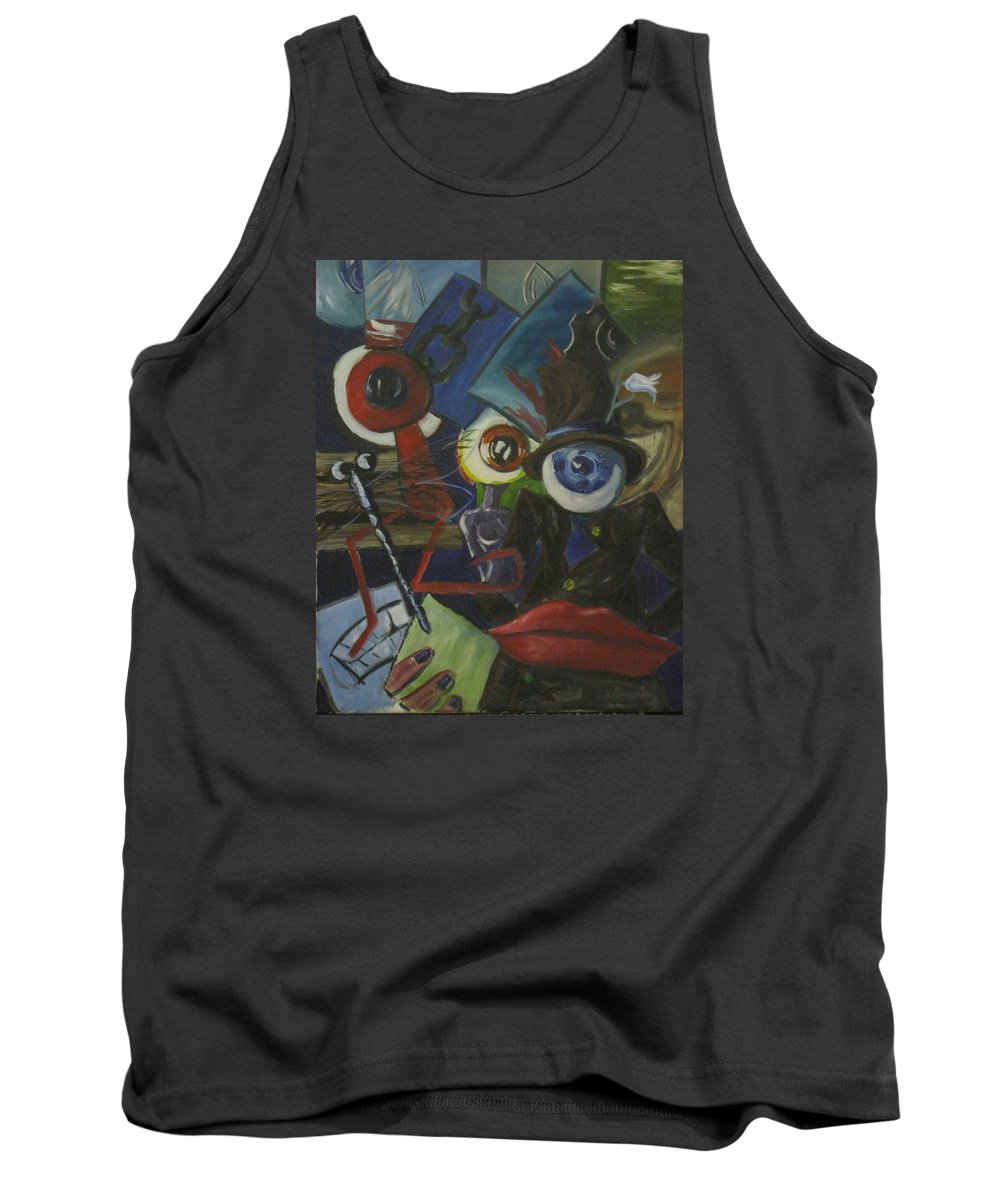 Abstract Tank Top featuring the painting The Wandering Eye by Scott Wilson